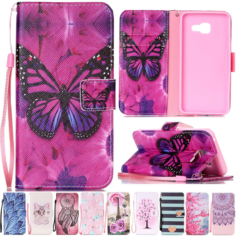 Luxury Cartoon Butterfly Elephant Cat Leather Flip Fundas Case For Coque Samsung Galaxy A3 A5 2016 A310 A510 A310F A510F Cover