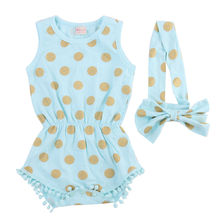 HI&JUBER Baby Girl Clothes Gold Dots Romper Jumpsuit One-pieces Outfits Set and headband