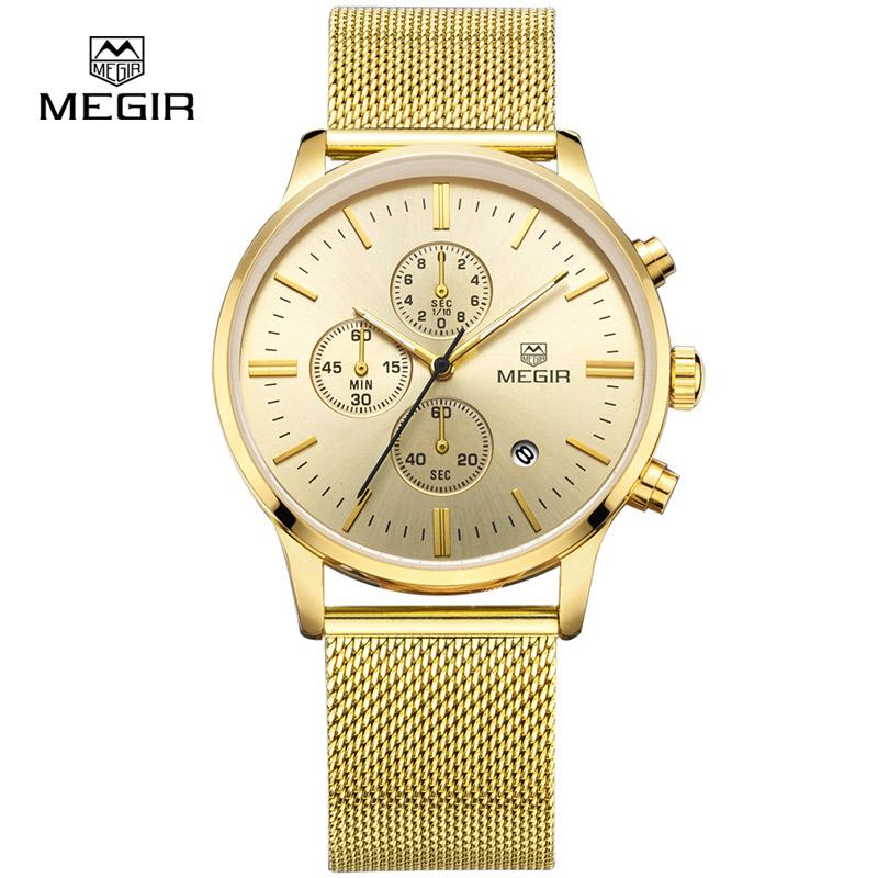 Prix pour MEGIR Hommes de Quartz Montres De Mode Chronographe Montre Étanche Hommes Or Lumineux Heure Montre-Bracelet de Luxe Relogio masculino 2011