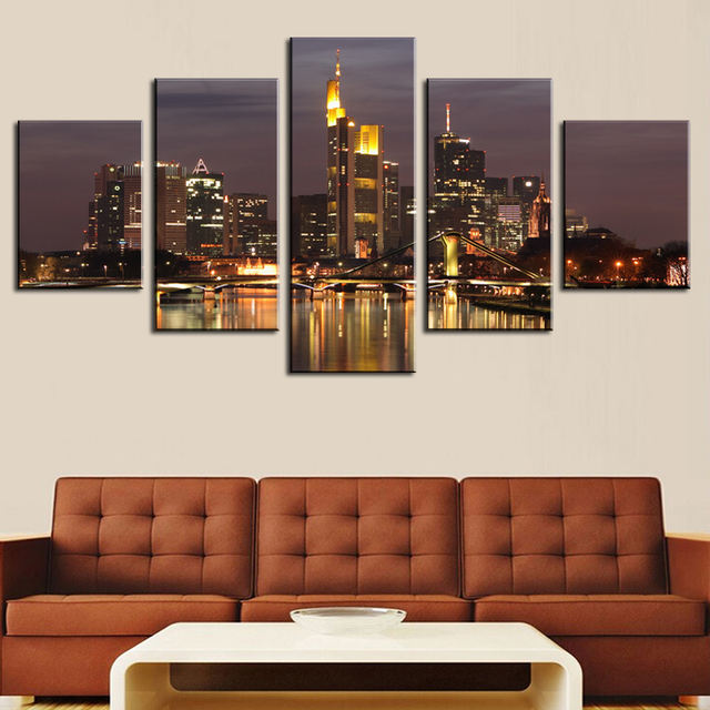 5 Pcsno Frame Hd Beautiful City Building Canvas Print Painting