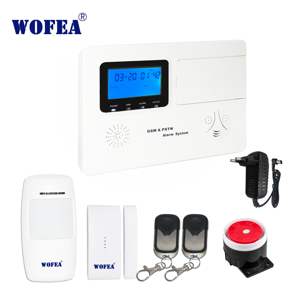 wofea home security PSTN GSM alarm system with 99 wireless zone 4 wired zone ISO android