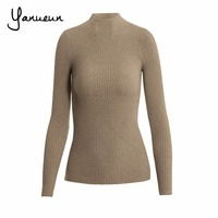 Yanueun Korean Fashion Women Pullovers Turtleneck Knit Shirt Long Sleeve Stretched Solid Sweater Tops 2016 Fall Winter Jumper 1