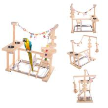 Попугай игровой стенд птица игровой стенд Cockatiel игровая площадка деревянный окунь тренажерный зал манеж лестница с питателем чашки игрушки(включая лоток
