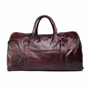 Image 2 - JOYIR erkek çanta seyahat çantası hakiki deri erkekler Duffel çanta bagaj seyahat çantası büyük kapasiteli deri silindir çanta haftasonu Tote