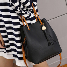 2016 Hot Sale Bags Handbags Women Famous Brands PU Leather Tassels Shoulder Bucket Bag With Clutch bolsos femenina