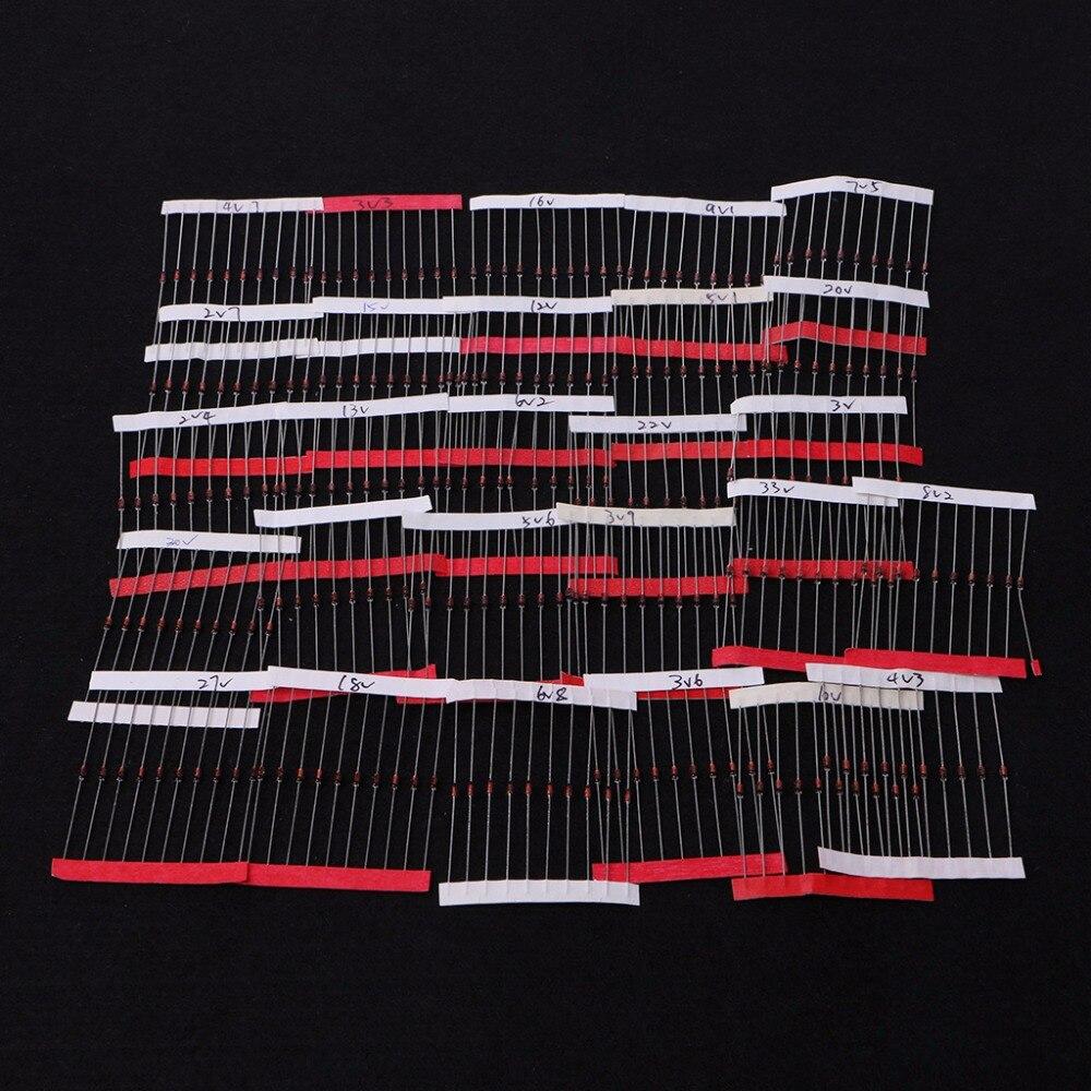 270 шт. 2.4 В-33 В 27 значения 1/2 Вт 0.5 Вт стабилитрон Ассорти Комплект Активные компоненты диоды