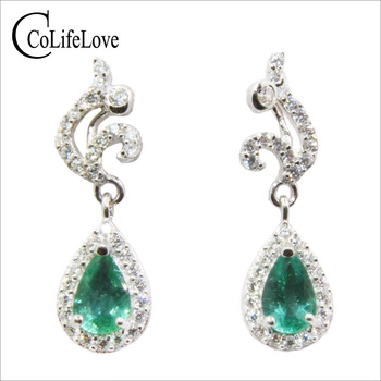 100% real Zambia emerald drope arrings for wedding 4 mm *6 mm SI grade emerald silver earrings solid 925 silver emerald jewelry