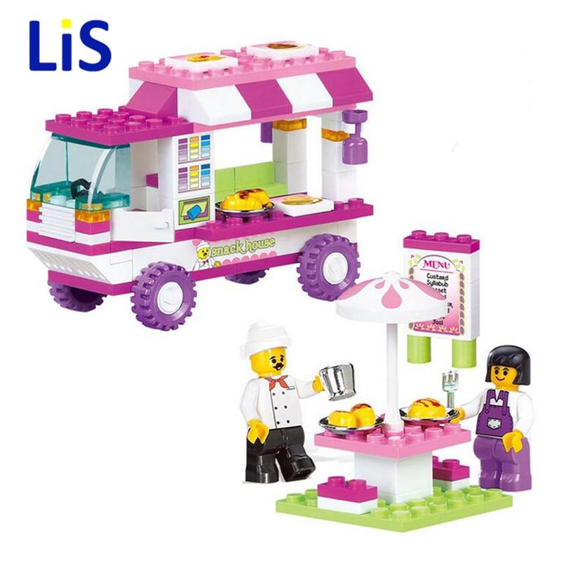 Lis 102Pcs B0155 Snack Car Building Blocks DIY Particles Bricks Pink Dream Girls Friends Toys Figure Kids Toys Playmobil Brinque