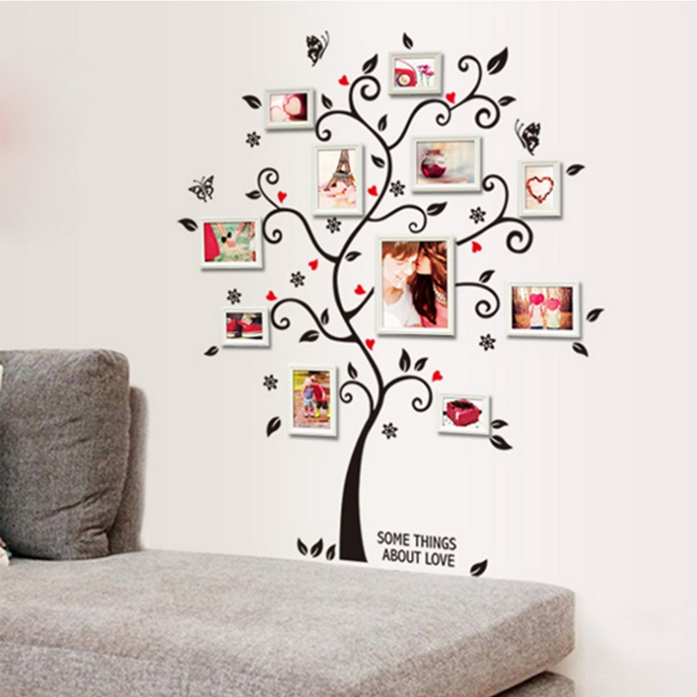Sale 3D Large Cartoon Child Baby Tree Photo Frame Wall Sticker Fairy Bedroom Decals Home Decoration Decor Living Kids Rooms