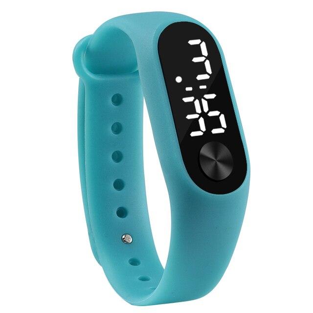 Moda Das Mulheres Dos Homens Esportes Casuais Relógios Pulseira de Branco LED Eletrônico Digital Doce Cor Silicone Relógio de Pulso para Crianças Dos Miúdos