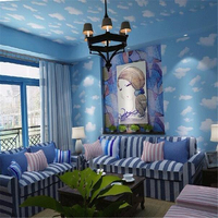 Beibehang Blue sky simple children's living room background wallpaper blue sky blue sky and white clouds ceiling 3D wallpaper
