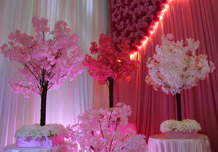 110 cm de hauteur centres de mariage fleurs, arbre de simulation blanc/Simulation de cerisiers/décorations de mariage magasin - 2
