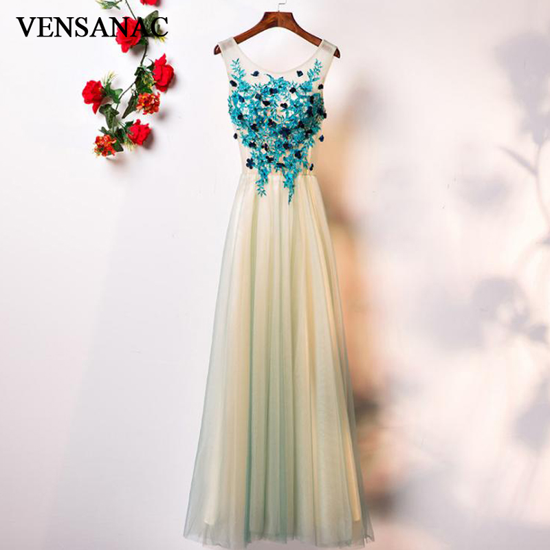 VENSANAC O Neck 2018 Lace Flowers A Line Long   Evening     Dresses   Elegant Party Appliques Backless Tulle Prom Gowns