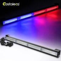 Castaleca Vehicle Car LED Flashing Warning Strobe Light Bar COB For Emergency Traffic Fog Rain Snow 12V/24V Amber Red Blue White
