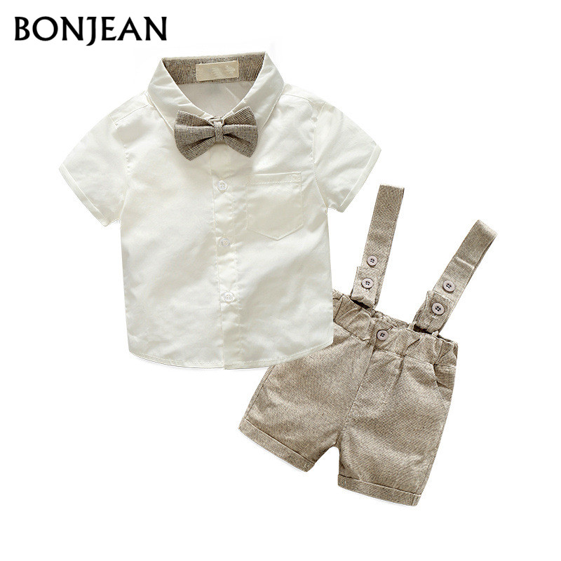 2PCS Baby Boys Clothes Summer Newborn Infant Clothes short sleeve t-shirt + shoulder straps Gentleman Children Clothing Bow tie tie sleeve skew collar t shirt