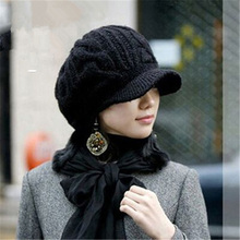 Elegant woman hat autumn and winter knitted hats caps womens rabbit fur autumn and winter women's fashion ladies Skullies