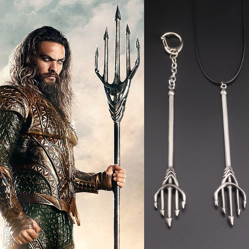 Movie Justice League 2 Aquaman Cosplay Accessories Necklace Alloy Key Rings Keychain Trident Weapons Girls Boys Halloween Gifts ...