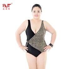 PNT131 Sexy One Piece Swim Suit Women 2016 Plus Size Bikini Black Large Size Swimsuits Leopard Point Print Sswimwear beachwear