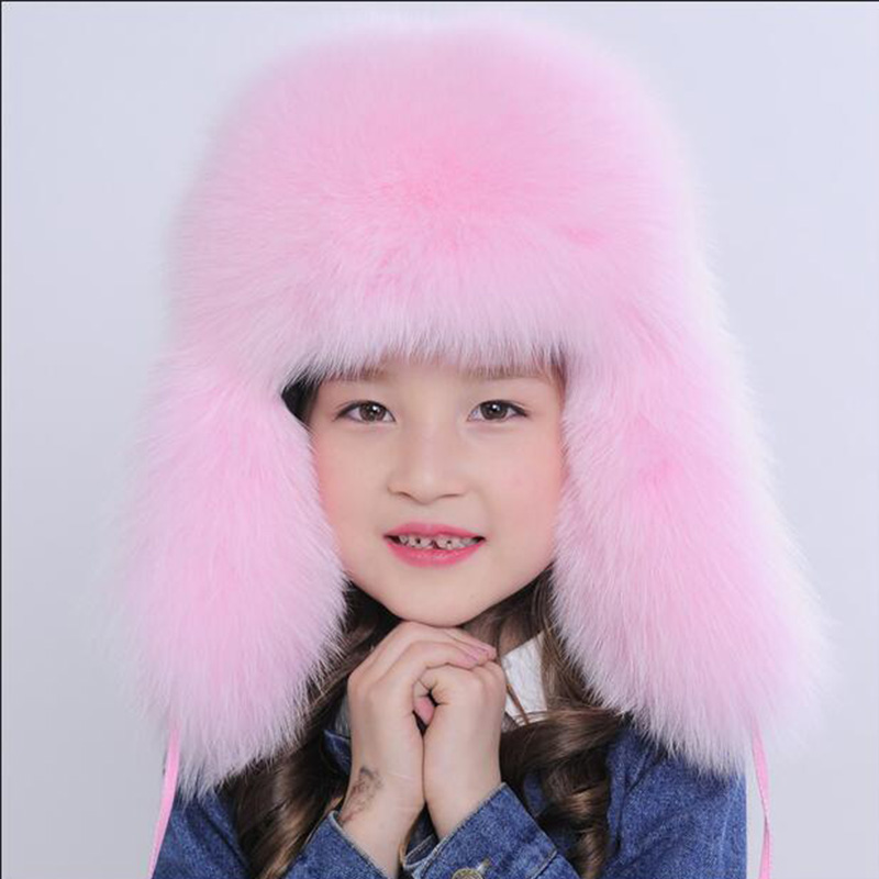 Russia Children Real Fox Fur Hat Boys Girls Warm Ear Winter Fur Hat Solid Bromber Caps Kids Warm Ears Children Kids Hat H#10 new children rabbit fur knitted hat winter warm fur hats scarf boys grils real fur beanies cap natural fur hat for kids h 26