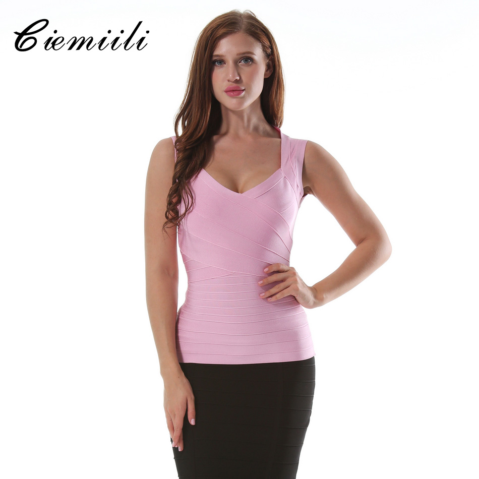 CIEMIILI 2018 New Women Backless Bandage Summer   Tops   Red Black Sexy Sleeveless V-neck Ladies Club Party Solid Bodycon   Tank     Tops