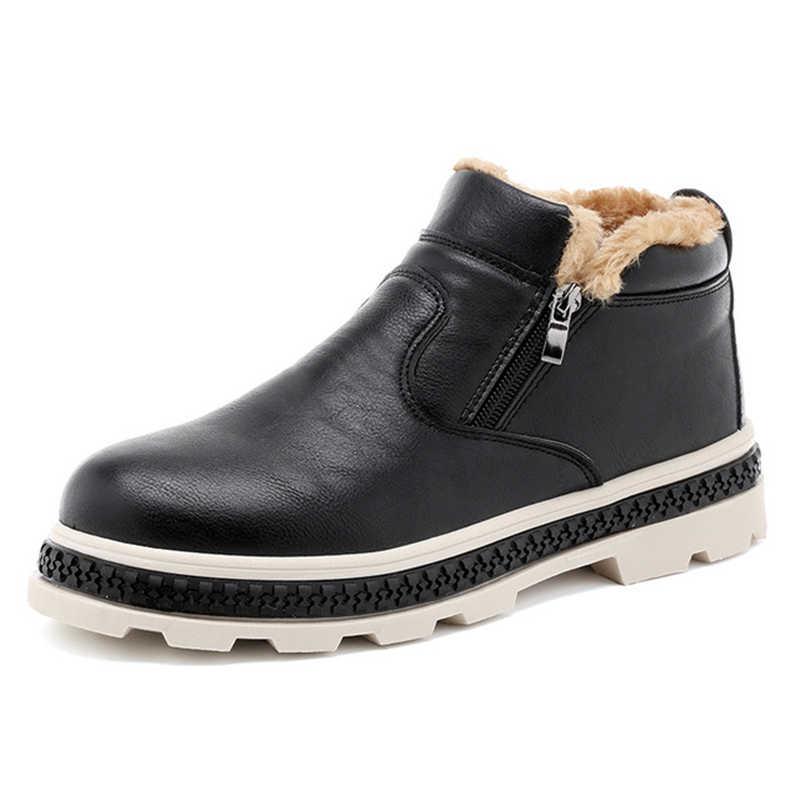 Erkekler Kışlık Sıcak Botlar rahat ayakkabılar Erkekler Moda Peluş Kar Botları yarım çizmeler Kürk Deri Ayakkabı Sneakers öğrenci Çalışma Yetişkin yeni