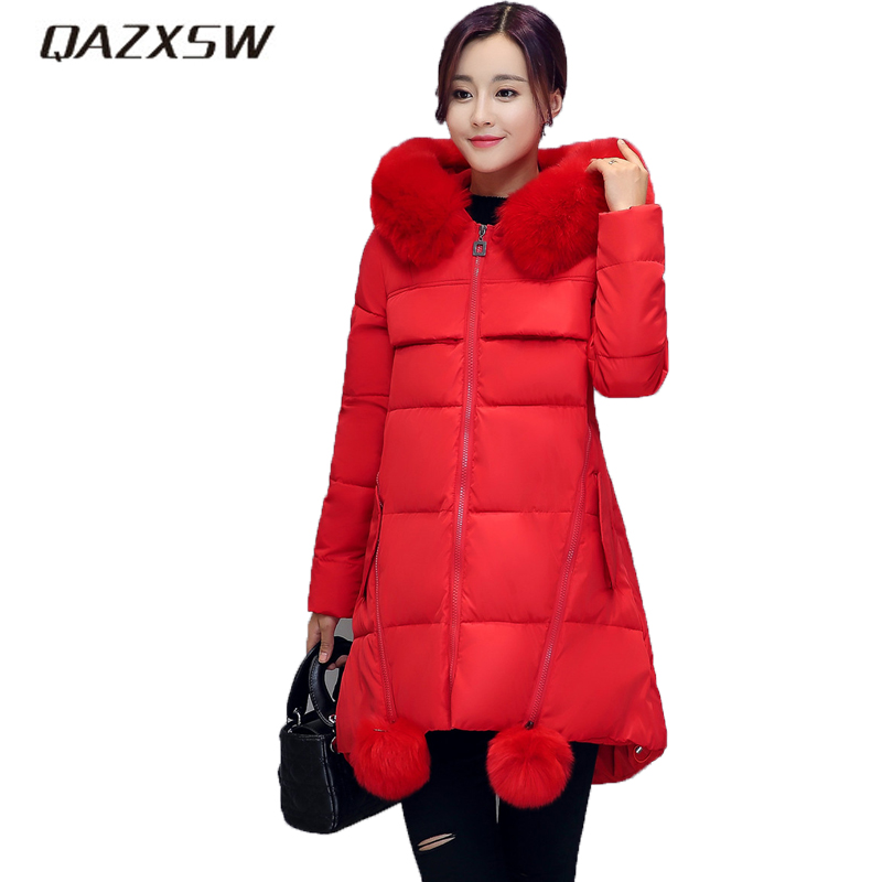 QAZXSW New Women's Winter Jackets Fur Collar Hooded Jacket For Warm Outwear Loose Thicker Cotton Jacket Jaqueta Feminina HB025 qazxsw new winter collection woman winter cotton jacket for women warm outwear fur collar hooded unicorn thick long parkas hb048