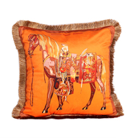 Luxury Horse Velvet Tassel Cushion Cover Soft Double Printed Pillow Cover Pillowcase Home Decorative Sofa Throw Pillows Chair