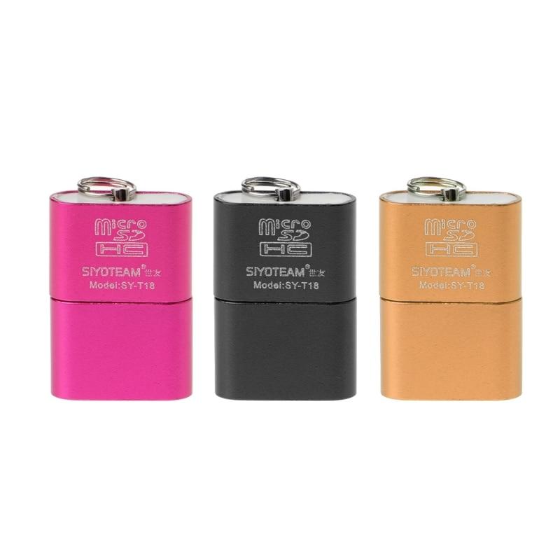 Portable Mini Aluminum Alloy USB 2.0 A Micro SD TF Memory Card Reader Adapter
