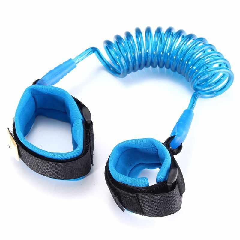 Niebieski PU i stal nierdzewna skurcz bezpieczeństwo malucha uprząż bezpieczeństwo dziecka nadgarstek Link Anti-lost pas dziecięcy regulowany