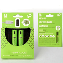 SMARTOOOLS 2/4PCS AA 1000mah Rechargeable Battery AA USB Charged NI-MH Battery 1000mAh AA 1.2V Toys Remote-controller batteries 7 4v 1000mah jst battery