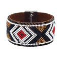 Women Leather Bangle Bracelet Colorful Beads Geometric Pattern Bohemian Style Magnetic Clasp Bracelet for Female