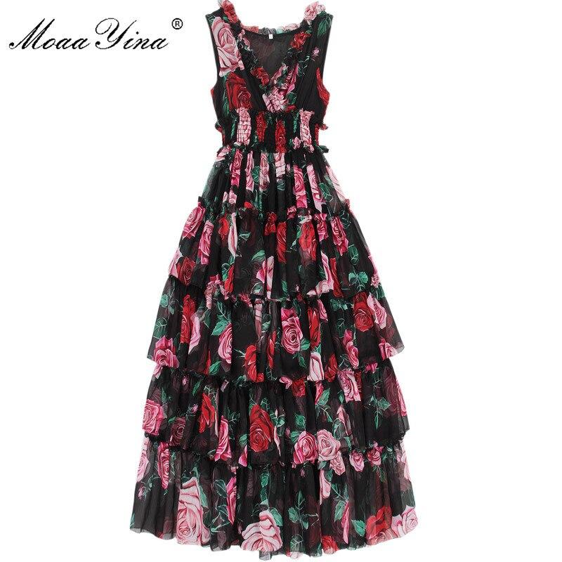 MoaaYina Fashion Designer Runway Dress Summer Women's Sleeveless V-neck Rose Floral-Print Ruffles Elastic Waist Vacation Dresses