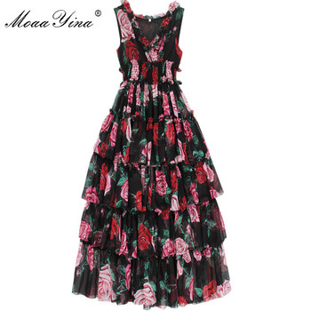 MoaaYina Fashion Designer Runway Dress Summer Women's Sleeveless V-neck Rose Floral-Print Ruffles Elastic waist Vacation Dresses moaayina fashion designer runway dress spring summer women dress v neck batwing sleeve print loose maxi dresses