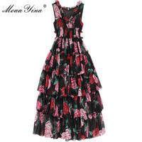 MoaaYina Fashion Designer Runway Dress Summer Women's Sleeveless V neck Rose Floral Print Ruffles Elastic waist Vacation Dresses