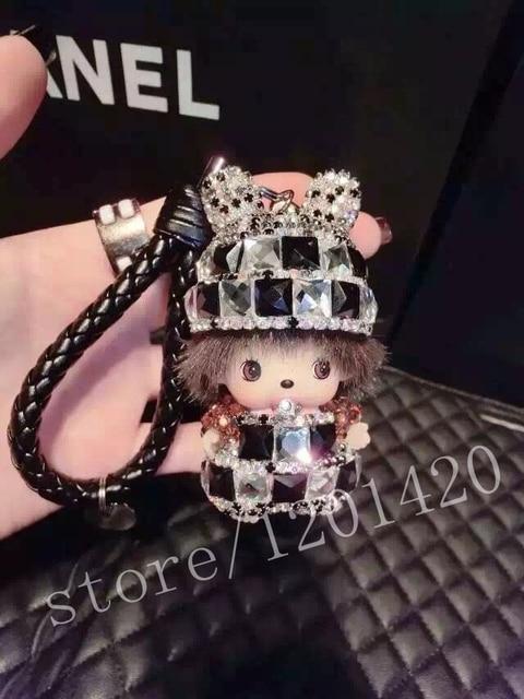 Bunny head MONCHHICHI cartoon keychain Crystal Monchichi doll bag pendant Lanyard key ring best gift friend gift woman bag charm