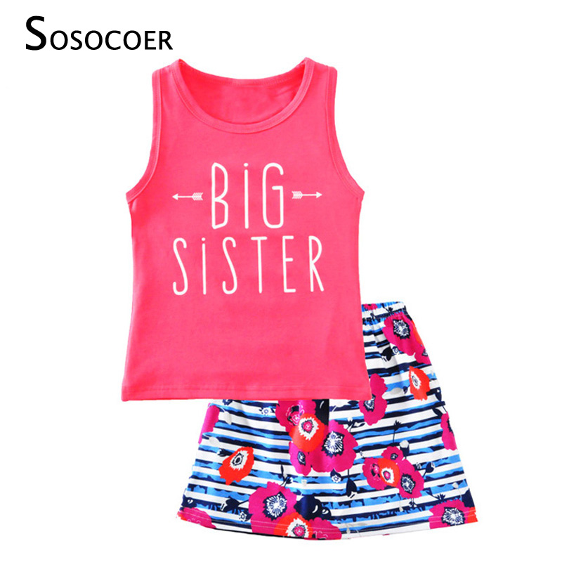 SOSOCOER Girl Clothing Set Summer Arrow T Shirt+Flowers Skirts 2pcs Kids Baby Clothes 2017 Cute Big Sister Girls Clothing Sets 2pcs children outfit clothes kids baby girl off shoulder cotton ruffled sleeve tops striped t shirt blue denim jeans sunsuit set