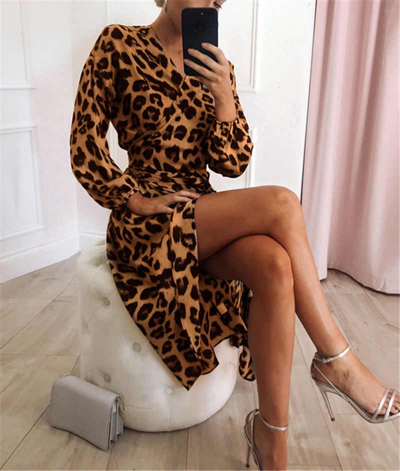 2020 Nieuwe Vadim Vestido De Festa Vestidos Mujer Vrouwen Gratis Verzending Luipaard V-hals Lange Mouwen Lace-Up Straight natuurlijke Katoen
