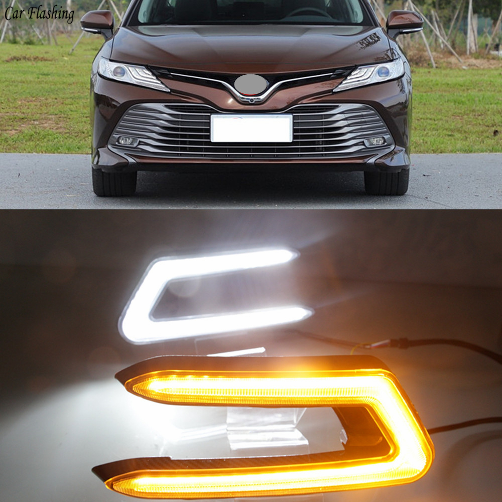 Car flashing 2PCS LED DRL Daytime Running Light For Toyota Camry 2018 2019 Car Accessories ABS