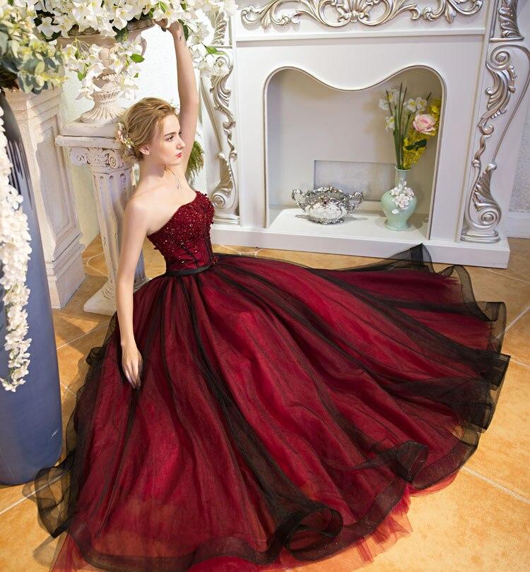 gótico negro y rojo una línea de vestidos de boda 2017 sin tirantes