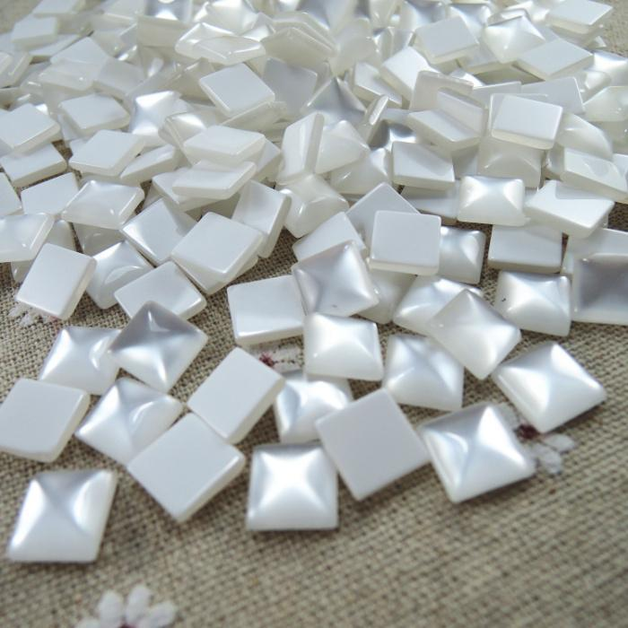 Creative 12mm 50pcs White Square Half Flat Back Cabochons Beads Diy Jewelry Decoration Craft Scrapbooking Accessories Ha-12 Beads