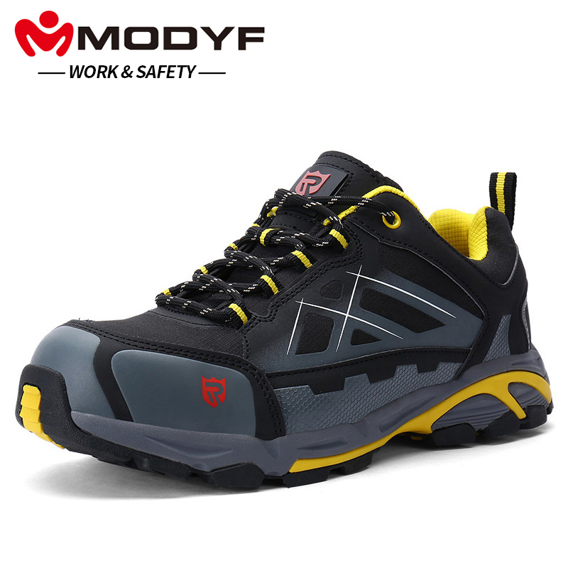 Modyf Males's Anti-Static Non-Slip Ankle Boots Metal Toe Work Security Footwear Outside Vogue Sneakers Light-weight Puncture Proof