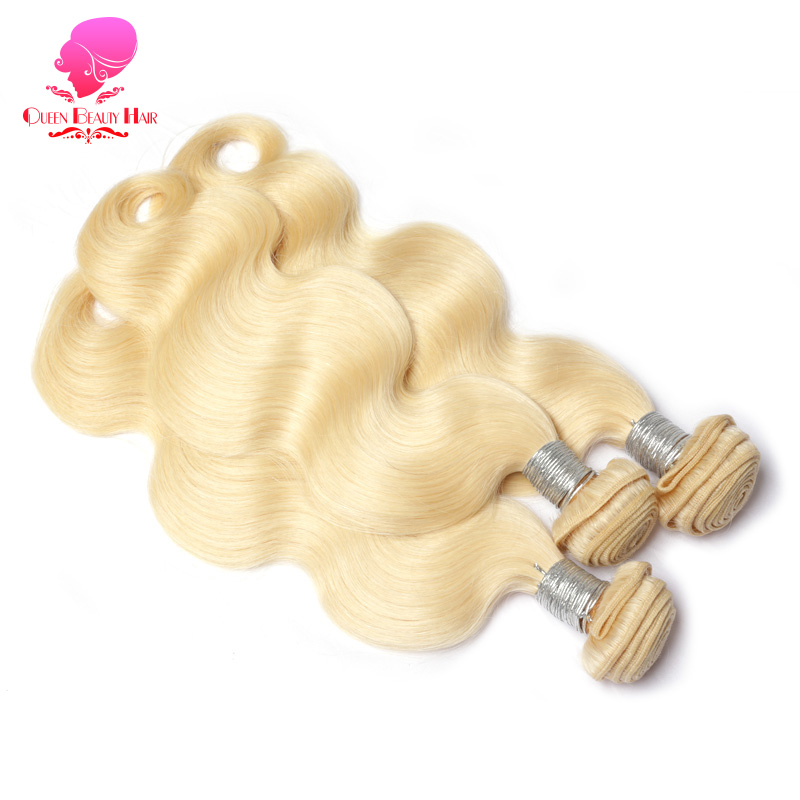 Tissage en lot malaisien naturel Remy Body Wave-QUEEN BEAUTY, blond 3/4, 8 10 12 14 16 18 20 22 24 26 28 30 32 34 36 pouces, 1/613