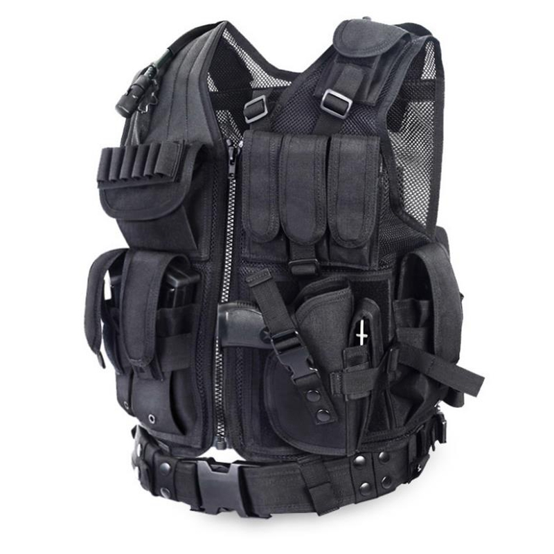 Police Tactical Vest Outdoor Camouflage Military Body Armor Sports Wear Hunting Vest with Gun holster belt