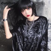 Goth Dark Black Vintage Grunge Gothic Female T-shirts Loose Harajuku Die Tie Autumn 2019 Patchwork Zipper Womens T-shirt Punk