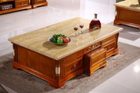 retro wooden coffee table storage drawer marble top made in China living room furniture