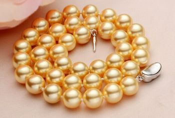 "925 silver Top Huge 18"" 9-10mm natural south sea genuine GOLD round pearl necklace Genuine Natural freshwater 925 silver"