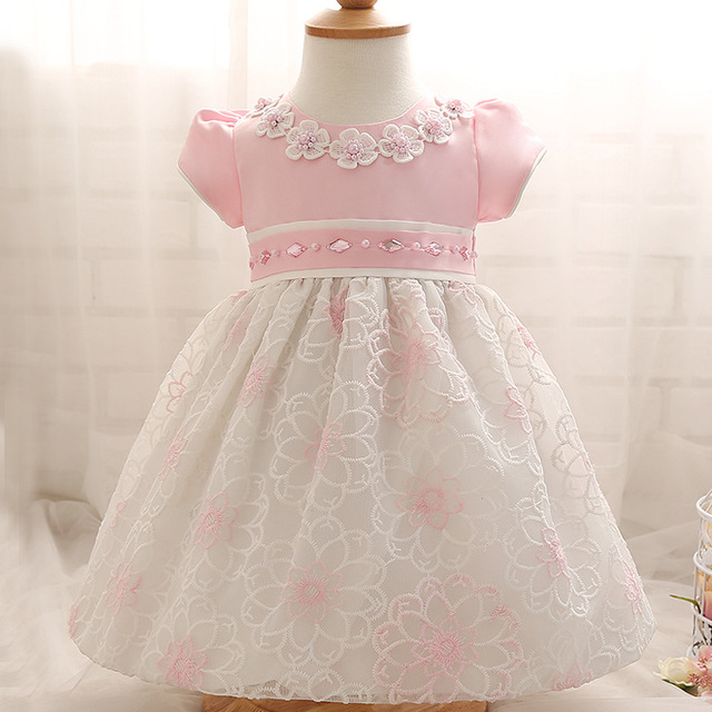 72265e10 0-24M Baby Girl Dress Baby Girl Christening Gowns Infant Floral Beades  Summer Dress Baby