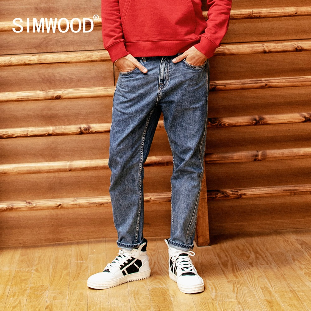 SIMWOOD New 2019   Jeans   Men Spring Fashion Wash Side Striped   jean   homme Plus Size Casual Ankle-Length Denim Harem Pants 190025