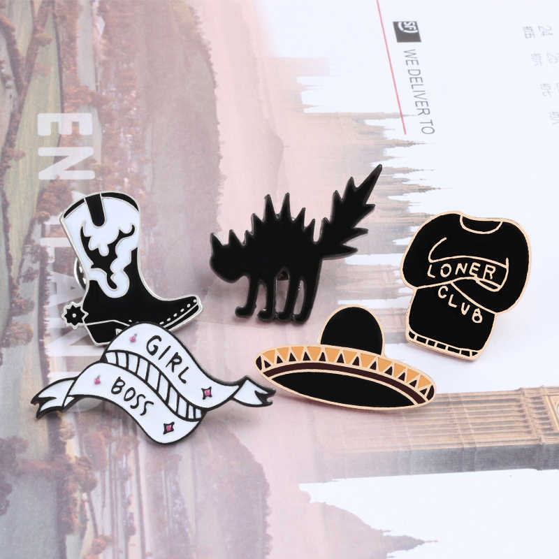 0fc4f7fc0b6 ... Fashion Black Hat Clothes Pin Brooch Collar Jackets Lady Jewelry Badges  Brooches Lapel pin Enamel pin ...