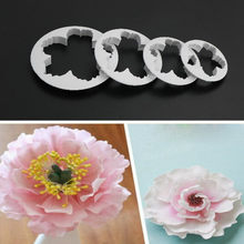 4 PCS/SET Kelopak Peony Pola Bunga Plastik Pasta Kue Press Cetakan Gula Fondant Mold Cookie Cutter Kue Dekorasi 4 Ukuran(China)
